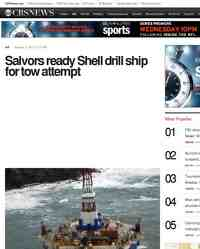 Salvors ready Shell drill ship for tow attempt: CBS News